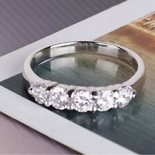 18k White Gold Plated Simulated Diamond Engagement Ring FREE SHIPPING With BOX
