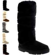 Womens Tall Knee High Fixed Lace Wrap Fur Lined Winter Snow Rain Boots US 5-12