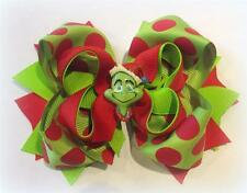 The Grinch Who Stole Christmas Boutique Hair Bow 3 layers Spikes Funky Hairbow
