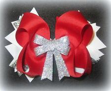 Sparkle Shimmer Glitter Red Christmas Boutique Hair Bow 3 layers Funky Hairbow
