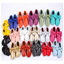 Genuine Leather Bow Moccasins Soft Sole Kids Boy Girl Toddler Baby Tassel Shoes