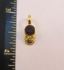 14KT GOLD PLATED BABY SHOE BIRTHSTONE CHARM WITH A SWAROVSKI CRYSTAL - 12 MONTHS