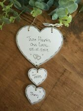 Wedding*Engagement*Anniversary*Handmade Wooden Personalised Hearts Plaque- Gift