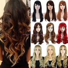 Sexy Lady Long Straight Curly Full Wigs Cosplay Party Daily Dress Adjustable U11