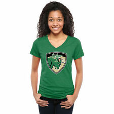 South Florida Bulls Women's Green Auxiliary Logo Tri-Blend V-Neck T-Shirt