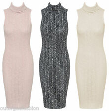 NEW WOMENS LADIES SLEEVELESS KNITTED COWL NECK BODYCON MIDI DRESS TOP