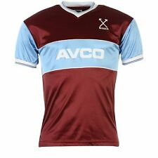 West Ham United FC Retro 1983 Home Jersey Mens Claret/Blue Shirt Football Soccer