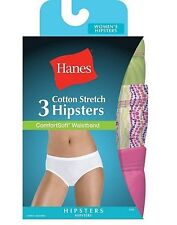 3 Hanes Womens Cotton Stretch Hipster Panties w/ComfortSoft® Assorted Colors Lot