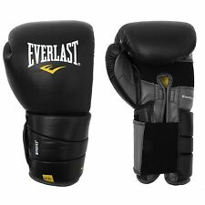 Everlast Leather Pro 3 Boxing Training Gloves Black Gym Fitness