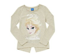 Girls Disney Frozen T Shirt Long Sleeve Top Elsa Cool as Ice Age 5-12 Years NEW