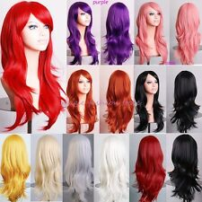 Women Long Layer Full Wig Cosplay Party Daily Dress Heat Resistant White Red P18