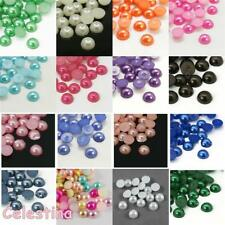 Faux Pearl Half Bead Cabochons Acrylic Flat Back Gems Embellishments Round