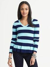 Banana Republic Petite V-Neck Blue Striped Peplum Sweater Org.$79.50 NewWithTag!