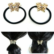 Pearl Crystal Rhinestone Mini Butterfly Ponytail Holder Hair Tie Rope Ring Band