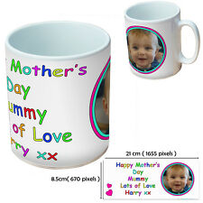 Personalised Mother's Day White 100z mug with any image and text for mum mummy