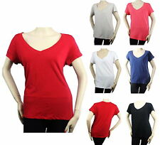 V- NECK Short Slv Basic T-SHIRTS Stretch Solid COTTON Plain Casual Comfy Top1-3X