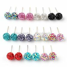 925 Sterling Silver Czech Ball Rhinestone Earring Ear Stud Multicolor Fashion