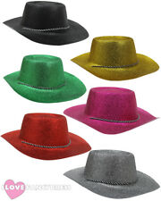 24 X GLITTER COWBOY HAT COWGIRL HEN STAG PARTY HOLIDAY FESTIVAL CHOOSE COLOUR