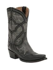 Lucchese M4915 Womens Black Calf Leather Mosaic Stitch Western Cowboy Boots