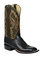 Lucchese HL2017 W8 Mens Black Caiman Crocodile Leather Western Cowboy Boot