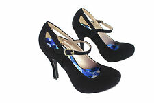 Qupid Sexy High Heel Pump Cut Out Ankle Strap Shoes Comfort Party Nubuck Black
