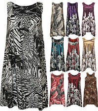 New Plus Size Womens Sequin Print Ladies Sleeveless Long Swing Vest Top 14-16