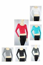 Scoop Neck Long Sleeve Beach Sexy CROP TOP Cotton Stretchy Solid Basic Shirt SML
