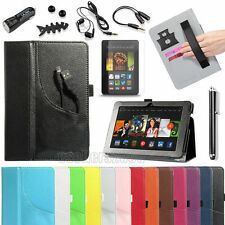 """For Amazon Kindle Fire HDX 7.0"""" 2013 Folio PU Leather Stand Case Cover+Accessory"""