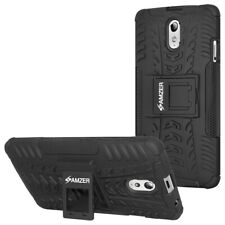 AMZER Dual Layer Hybrid Armor Warrior Case With Stand For Lenovo Vibe P1m -Black