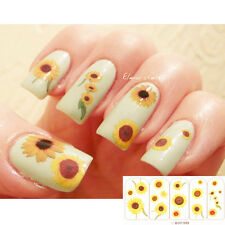 1 Sheet Shiny Sunflower Pattern Nail Art Manicure Water Decals Transfers Sticker