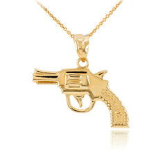 14k Solid Gold Revolver Pistol Gun Pendant Necklace