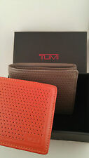 Tumi Bowery Double Billfold Mens Wallet - 019734 PEWTER & Orange with Giftbox