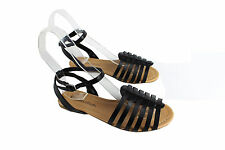 Lady Nista-s Gladiator Ankle Strap Sandal Open Toe Strappy Comfy Flat Shoes BK