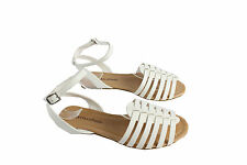 Lady Nista Gladiator Ankle Strap Sandal Open Toe Strappy Flat Shoes White 5.5-10