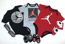 AIR JORDAN 7-pc Outfit gift Set 3 Bodysuits/Romper & 4 pairs of Booties 0-6M