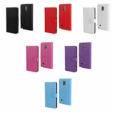 SAMSUNG GALAXY NOTE 4 BOOK FLIP PU LEATHER CASE SCREEN PROTECTOR VARIOUS COLOURS