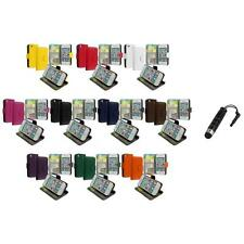 Wallet Leather Case Cover Pouch Credit Card Slots+Stylus Plug for iPhone 4 4S 4G