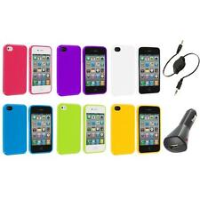TPU Jelly Gloss Solid Skin Case Cover Accessory+Aux+Charger for iPhone 4 4G 4S