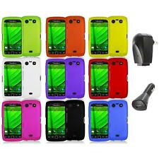 Color Hard Rubberized Case Cover+2X Chargers for Blackberry Torch 9850 9860