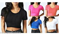 Womens Ladies Plain Cap Sleeve Crop Top TShirt Stretch Neck Cropped Top 8-14