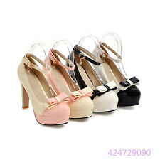 Women Lady Chunky High Heels Platform Pumps Bowknot Strap Mary Janes Shoes YD814