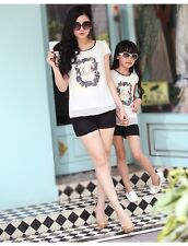 Family Set New Summer Girls women sets Floral Chiffon T Shirts + Lace Pants 2pcs