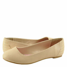 Women's Shoes Qupid Ritzy 21 Classic Career Ballet Flats Nude *New*
