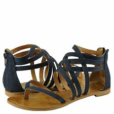 Women's Shoes Qupid Athena 566 Strappy Gladiator Thong Sandal Blue Denim *New*