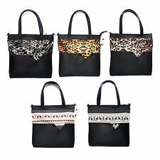 Black Faux Leather Shopper Tote Shoulder Bag Purse Handbag Leopard Scandinavian