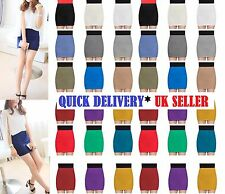 WOMEN LADIES PLAIN JERSEY BODYCON STRETCH SHORT MINI OFFICE PENCIL SKIRT- minwg