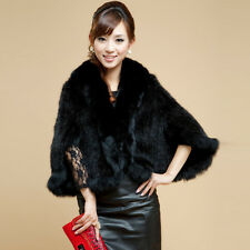 Real Knitted Mink Fur Shawl with Fox Fur Trimming Poncho For Lady 4 colors