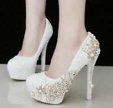 Womens White Wedding Shoes Pearls Crystal Platform High Heels Bridal Shoes Pumps