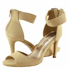 Women's Shoes Qupid Grammy 93 Open Toe Ankle Strap Sandal Heels Nude *New*