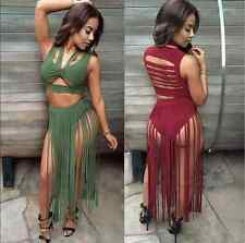 2016 New Sexy Women Sleeveless Tassel Dress 2 Piece bandage Bodycon Party Dress